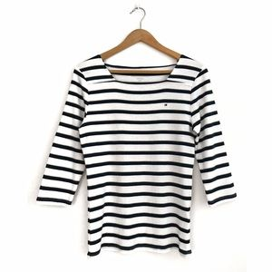 Tommy Hilfiger Striped 3/4 Sleeve Top L Blue White